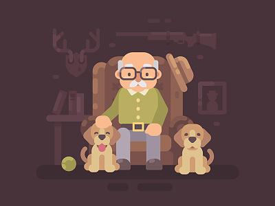 Grandpa cute hunter man old grandfather grandparents cartoon character illustration vector design flat
