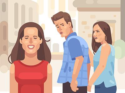 Distracted boyfriend meme cartoon illustration vector design flat cheating girlfriend boyfriend funny meme
