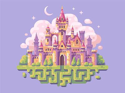 Fairytale castle princess cloud magic game fantasy castle tale fairy illustration vector design flat