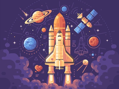 Space exploration star satellite launch planet shuttle spaceship science space illustration vector design flat