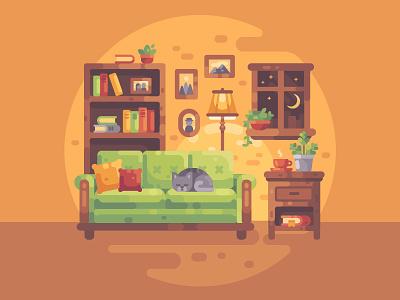 Cozy evening cat. comfort books home room interior illustration vector design flat