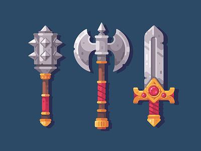 Fantasy weapon battle axe mace sword item rpg game fantasy illustration vector design flat