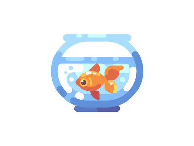 Fish tank water goldfish aquarium tank fish icon illustration vector design flat