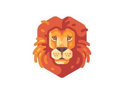 Lion wild king lion animal icon illustration vector design flat