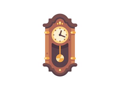 Grandfather clock antique old time clock icon illustration vector design flat