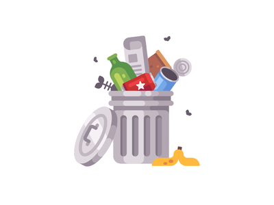 Trash can dump garbage trashcan junk trash icon vector illustration flat design