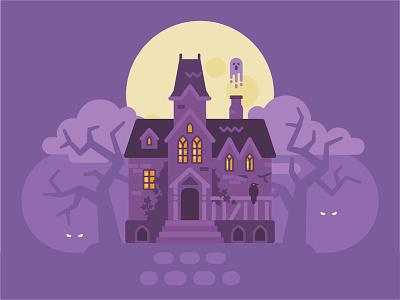 Haunted masion landscape creepy ghost spooky mansion haunted house halloween fantasy vector illustration flat design