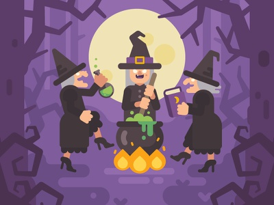 Wicked sisters ritual wicked magic potion witch halloween cartoon fantasy character vector illustration flat design