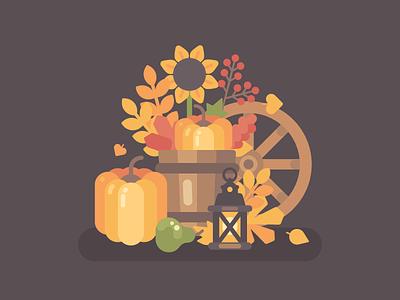 Autumn harvest pumpkin country farm autumn fall vector illustration flat design