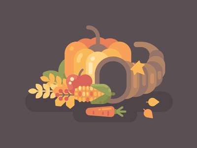 Cornucopia country fall pumpkin thanksgiving holiday harvest autumn vector illustration flat design