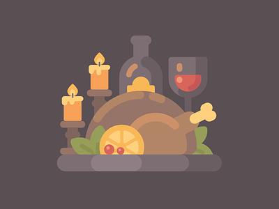 Thanksgiving dinner turkey holiday food thanksgiving fall autumn vector illustration flat design