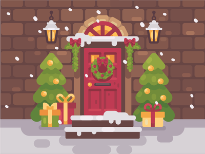 Christmas porch tree present christmas winter home door vector illustration flat design