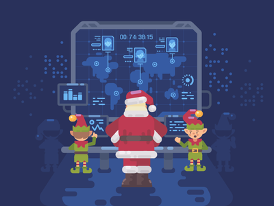 Santa's secret lab interface futuristic elf new year santa claus christmas character vector illustration flat design