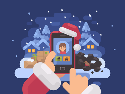 Naughty or nice? smartphone new year santa claus christmas vector illustration flat design