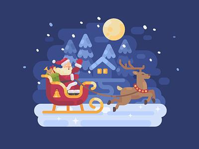 Jingle all the way! reindeer deer sleigh santa claus new year christmas character vector illustration flat design