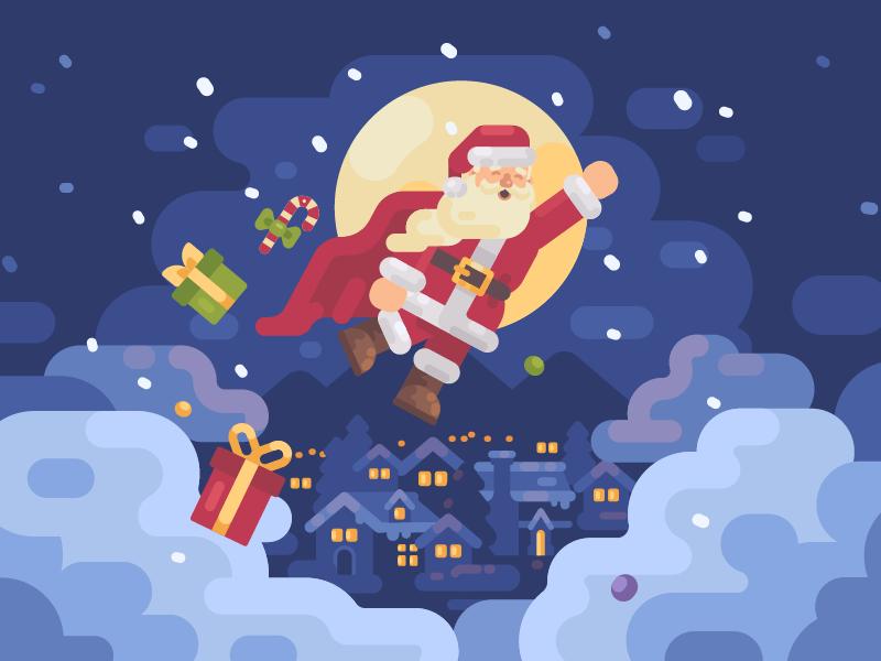 Super Santa superhero vector santa claus new year illustration flat design christmas character