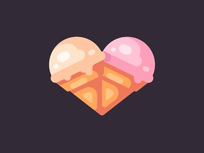 Ice cream heart love heart ice cream cone ice cream icon flat design vector illustration