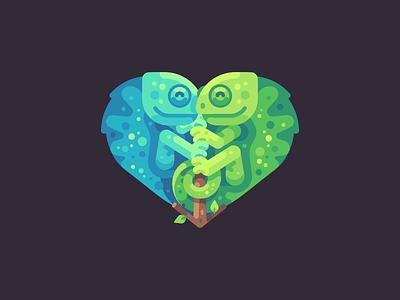Chameleon love heart love lizard chameleon flat design vector illustration