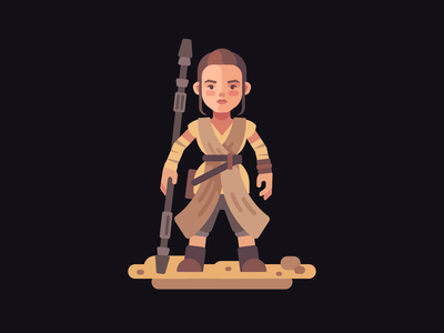 Rey flat design character jedi star wars rey
