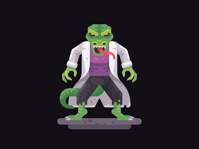 The Lizard comic villain flat design lizard spider-man character vector illustration
