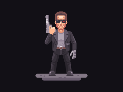 Terminator schwarzenegger terminator character flat design vector illustration