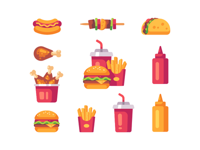 Fast food icons chicken burger hot dog flat design icon food fast