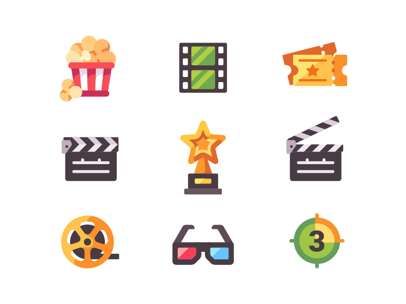 Cinema icons 3d glasses award popcorn flat design icon film movie cinema