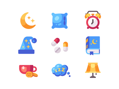 Sleep icons pillow book insomnia bedtime icon flat design night sleep
