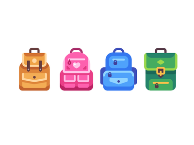 School bags back to school bag backpack icon illustration vector design flat