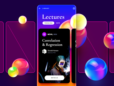 Educations Service: Lectures black cards glass balls bright typography color interface education mobile