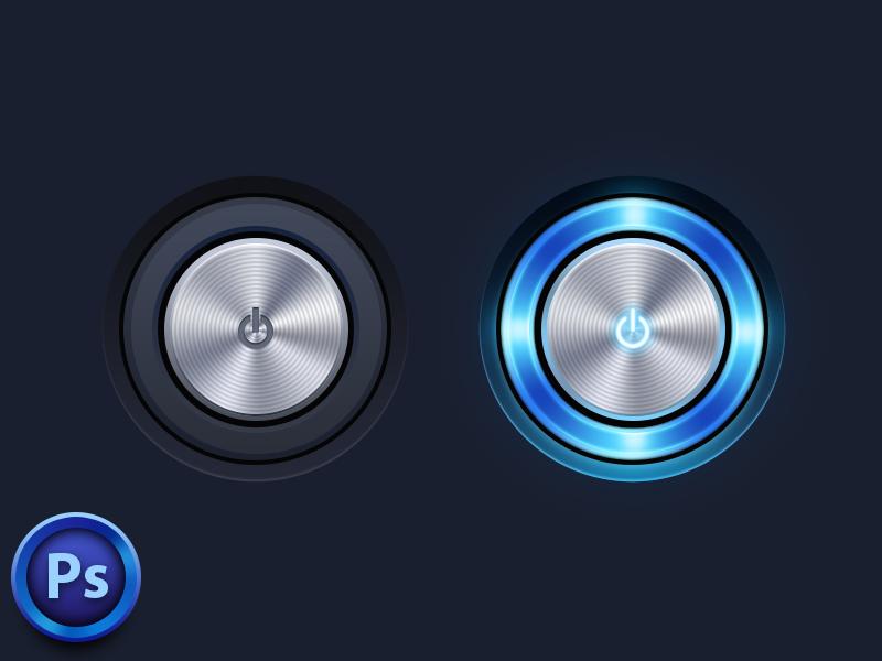 Power Button button blue ui light psd metal