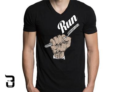 Run! ironic hands illustrator clothing tshirt run hairstyle black graphic design barber illustration
