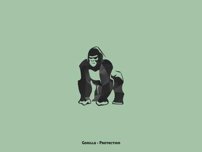 Gorilla - Protection green nature illustration animals animal collection design minimal