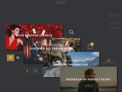 GOTHICSCENT // Fragrances Website  behance webdesign flat ecommerce design userinterface ux ui slider perfumes perfume fragrances