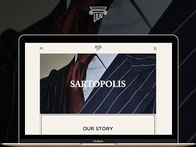 Sartopolis minimal fashion tailoring interface user uiux brand logo design web website