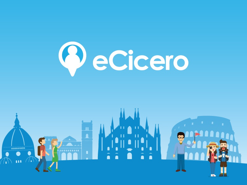 eCicero concept italian flat minimal travel illustration italy behance platform tour guide userinterface uiux webdesign website logo design