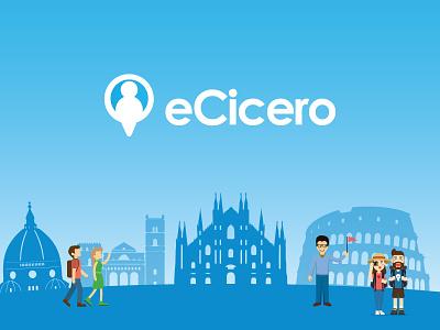 eCicero concept italian flat minimal travel illustration italy behance platform tour guide userinterface uiux webdesign website logo design