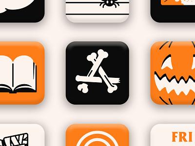 Spooky iOS 14 App Icons skeleton pumpkin october spooktober spooky halloween illustration iconography ios14 icons design icon design icons pack icon set iconset icons