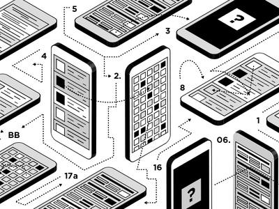 Confusing Software monochromatic instructions isometric vector illustration diagram