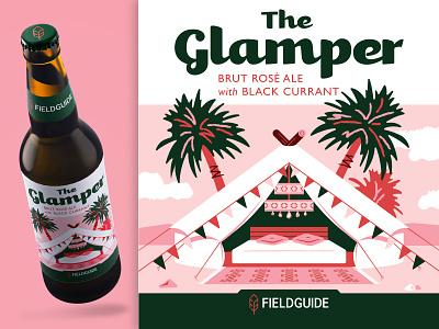 The Glamper Beer Label flat illustration package design packaging fieldguide glamping brand branding typography illustration vector beer bottle beer label beer