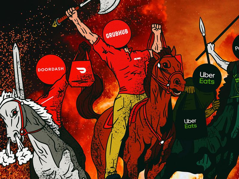 The Four Horsemen of the Restaurant Apocalypse? drawing noise gritty apocalypse parody four horsemen horsemen vector illustration