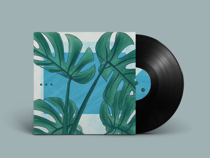 Nook Out Now! minimal fern artwork illustration drawing plant beats lofi vinyl album music