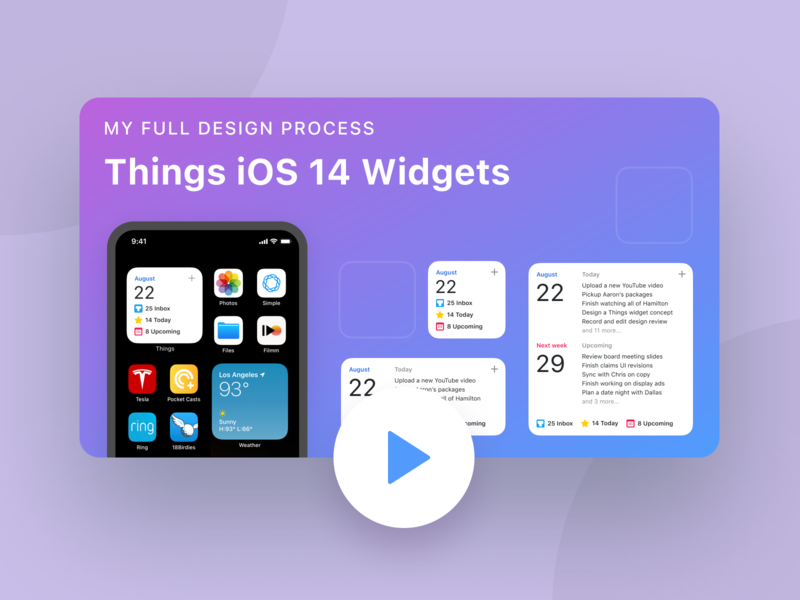 My Design Process: Things iOS 14 Widget Guide Video widget figma tutorial figma product design tutorial product design thumbnail video todo productivity things iphone apple ios ios 14 tutorial design youtube