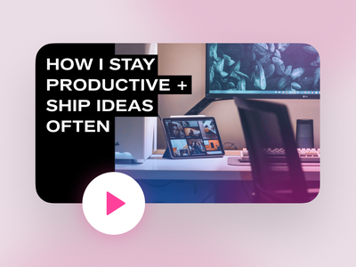 New Video! How I Stay Productive and Ship Often product designer product design colors gradient stay productive video editing youtuber design video desk setup scheduling time management side projects side project ship ideas shipping startup thumbnail youtube video productivity