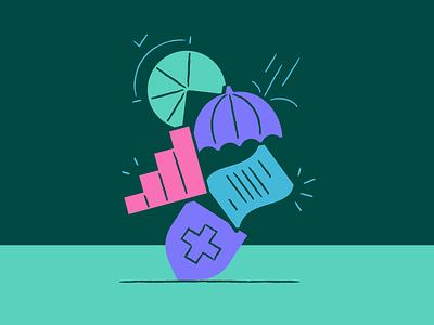 Core Approach Illustration pie chart graph stocks shield colors startup fintech finance bills umbrella ui ux vector design branding icons minimal illustration icon