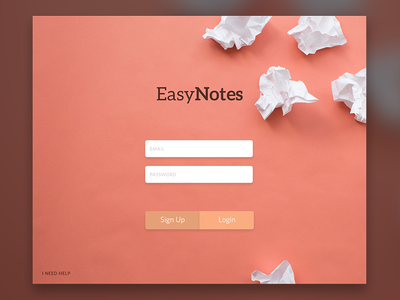 Easy Notes Sign Up Form code web development shadow minimal interface learn login sign up website ux ui