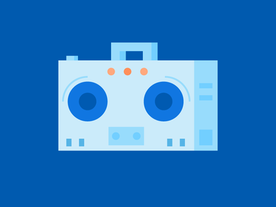 Boomboxface character face radio illustration button speaker boom box music icons icon