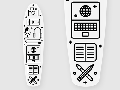 The Design Essentials Pennyboard tech camera phone essentials illustration custom penny board skate notebook icon