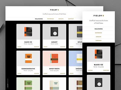 Fieldy 2.0 improvement wallpaper notebook development web field notes launch marketing landing ux ui website