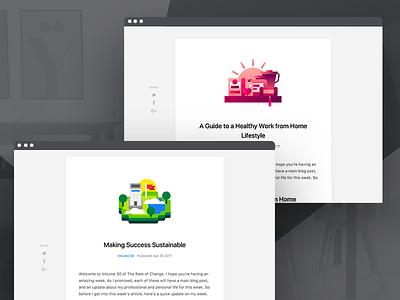 New Blog - Posts minimal simple editorial web react code launch icon post illustration ui blog